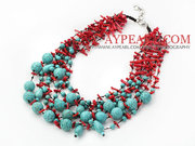 Fabulous Multi Strand Coral and Turquoise Necklace