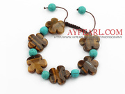 Tiger Eye and Turquoise Knotted Adjustable Drawstring Bracelet