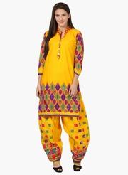 Yellow Cotton Gujarati Salwar Set at ShoppyZip