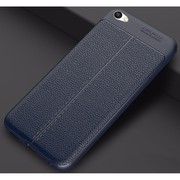 Autofocus Leather Texture Hybrid TPU Shockproof Back Case Cover