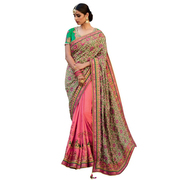 Viva N Diva Beige And Pink Colored Jacquard Silk And Tussar Silk Saree
