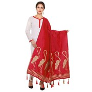 Buy Women Banarasi Dupatta With Crane Bird Design Red And Gold