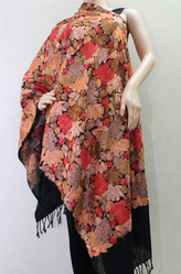 Buy Women Matelco Wool Black Embroidered Shawl at Best Price