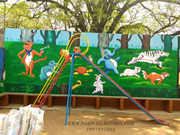 kids pre primary school wall art painting in hyderabad