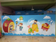 school cartoon wall art painting in hyderabad
