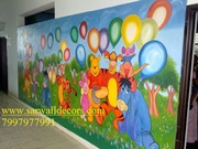 playschool art wall painting in hyderabad