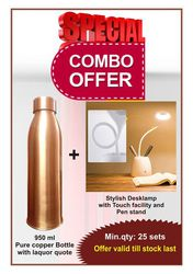 COMBO OFFER pure copper bottle + Stylish touch lamp with pen stand