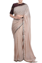 Coffee coloured natural crepe saree available only at TheHLabel